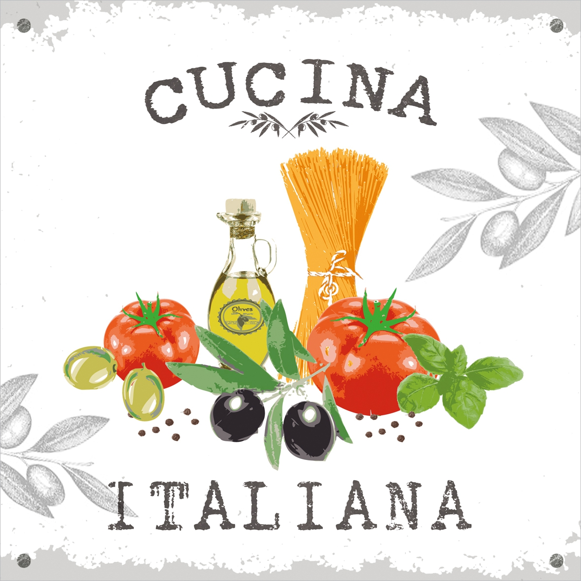Lunch Servietten Cucina Italiana white