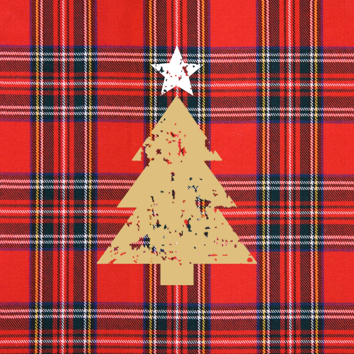 Cocktail Servietten Tartan Tree red