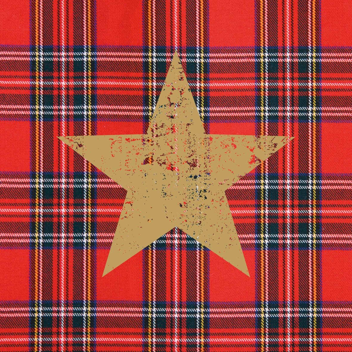 Cocktail Servietten Tartan Star red
