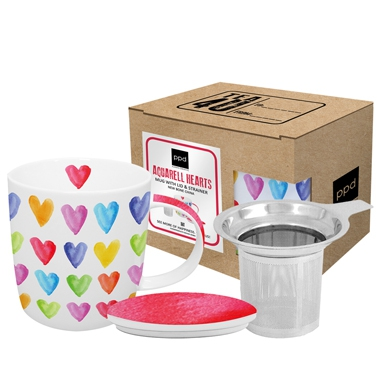 Porzellan-Teetasse Aquarell Hearts