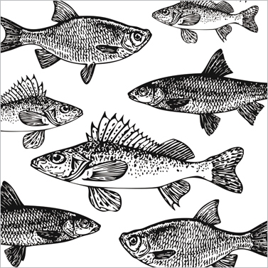 Lunch Servietten Graphic Fishes white