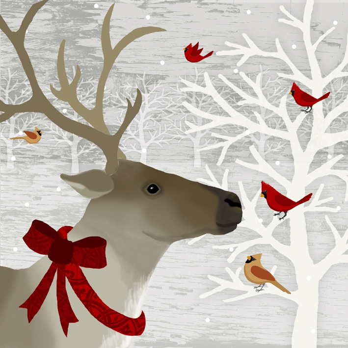 Paperproducts Design,  Tiere - Vögel,  Weihnachten,  cocktail servietten,  Hirsch,  Vögel