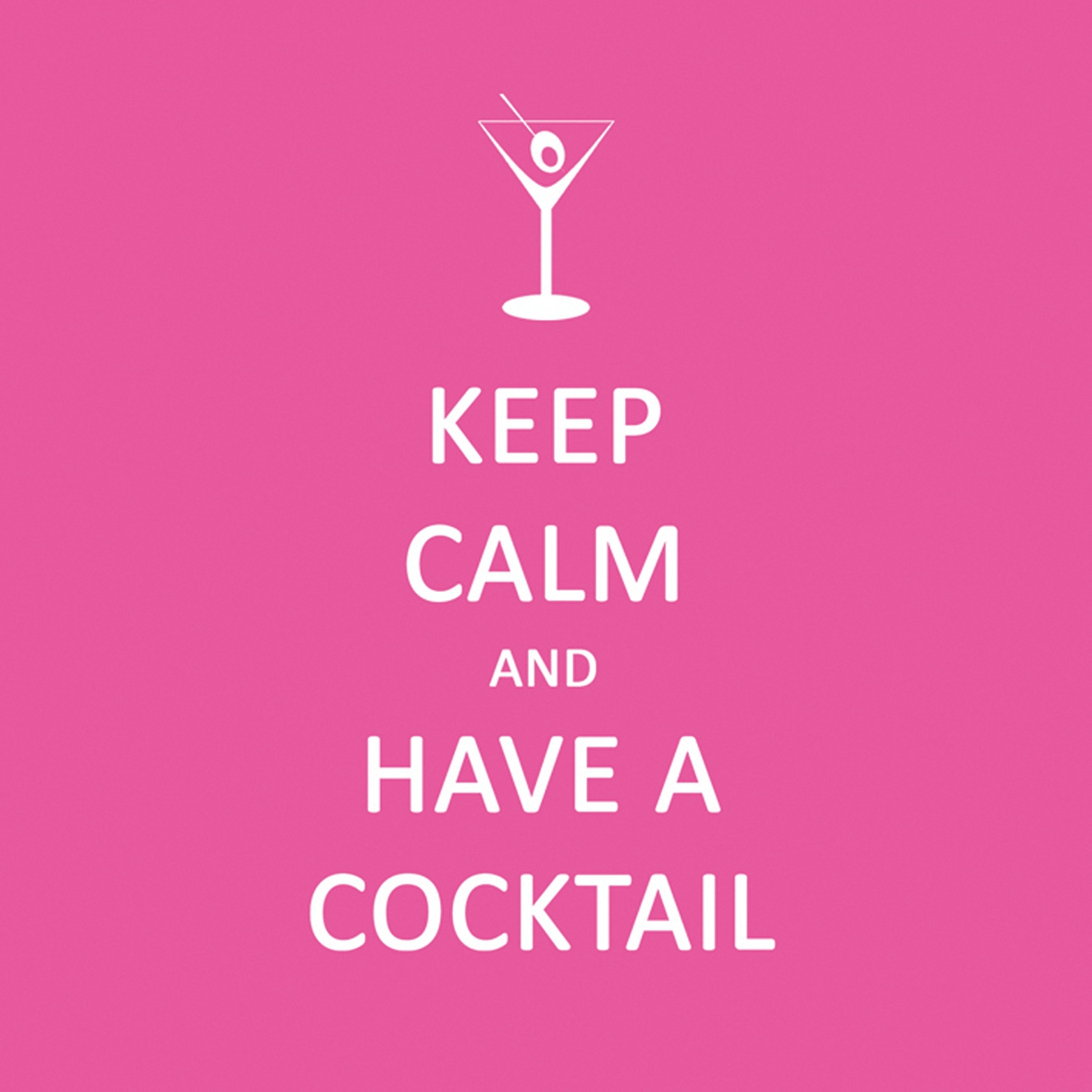 Cocktail Servietten Keep Calm... Cocktail pink