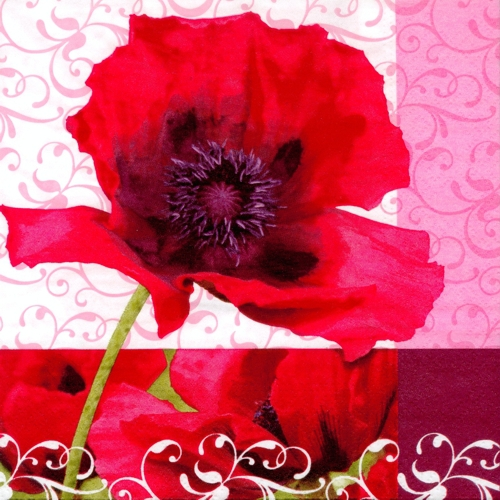 20 Servietten 33x33 cm - Poppy Flower