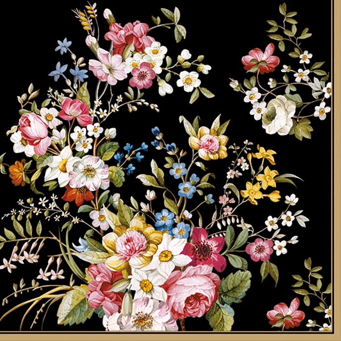 Lunch Servietten BLOOMING OPULENCE BLACK