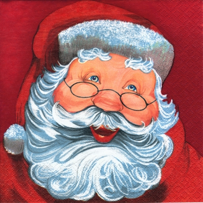 Servietten 24x24 cm - Father Christmas red