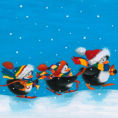 Servietten 25 x 25 cm,  Tiere - Pinguine,  Winter - Schnee,  Weihnachten,  cocktail servietten