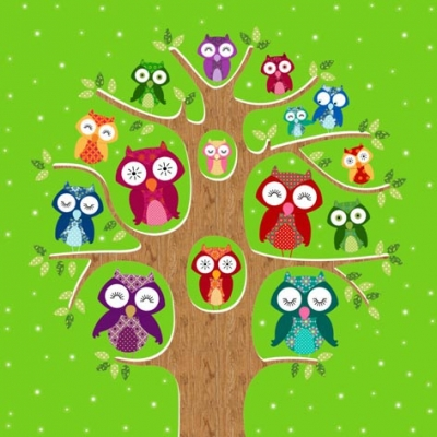 Cocktail Servietten Owl Family Tree olive