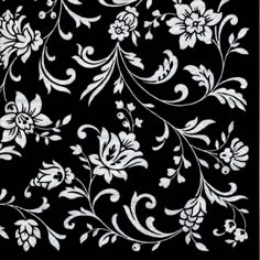 20 Servietten - 25 x 25 cm Arabesque Black black-white,  Blumen,  Everyday,  cocktail servietten