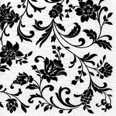 20 Servietten - 25 x 25 cm Arabesque White white-black,  Blumen,  Everyday,  cocktail servietten