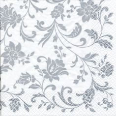 20 Servietten - 25 x 25 cm Arabesque White silver-white,  Blumen,  Everyday,  cocktail servietten