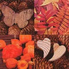 20 Servietten - 25 x 25 cm Autumn Symphony,  Herbst - Blätter / Laub,  Früchte - Nüsse,  Everyday,  cocktail servietten