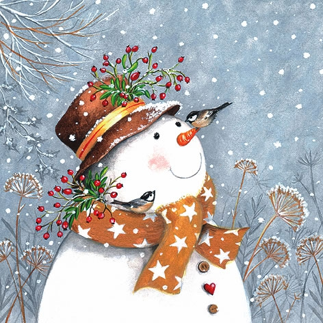 Servietten 33x33 cm - Snowman with Golden Scarf