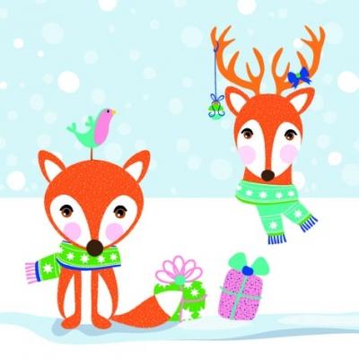 ti-flair,  Tiere -  Sonstige,  Weihnachten,  lunchservietten,  Fuchs,  Rentier