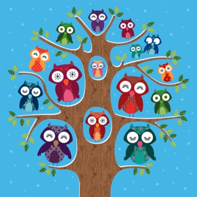 Lunch Servietten Owl Family Tree blue