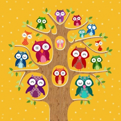 Lunch Servietten Owl Family Tree pumpkin