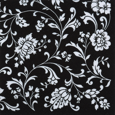 20 Servietten - 33 x 33 cm Arabesque Black black-white,  Sonstiges - Muster,  Everyday,  lunchservietten