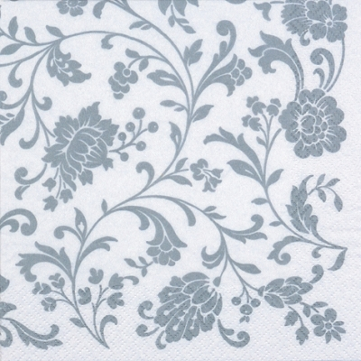 20 Servietten - 33 x 33 cm Arabesque White silver-white,  Sonstiges - Muster,  Blumen,  Everyday,  lunchservietten