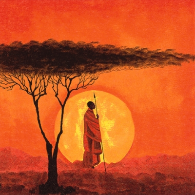 20 Servietten - 33 x 33 cm African Sunset,  Menschen - Personen,  Regionen - Afrika,  Everyday,  lunchservietten,  Massai
