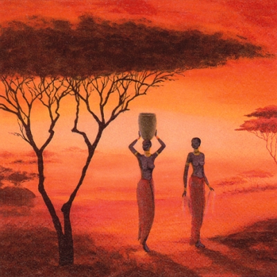 20 Servietten - 33 x 33 cm Preparing a new Day,  Menschen - Personen,  Regionen - Afrika,  Everyday,  lunchservietten,  Massai