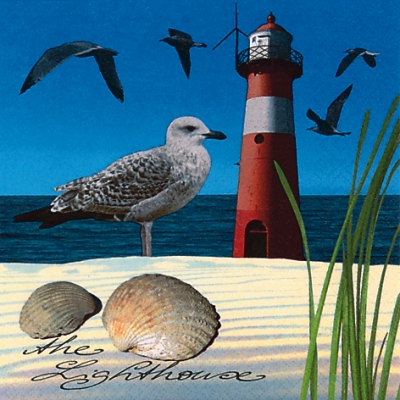 20 Servietten - 33 x 33 cm The Lighthouse,  Tiere - Vögel,  Regionen - Strand / Meer - Muscheln,  Regionen - Strand / Meer - Leuchttürme,  Everyday,  lunchservietten,  Möwen