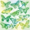 Servietten 33x33 cm - Aquarell Butterflies Green