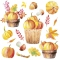 Servietten 33x33 cm - Pumpkins in Wooden Buckets