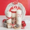 Servietten 33x33 cm - Red  and White Composition with Wreath and Candles