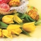 Servietten 33x33 cm - Yellow Tulips with Traditional Easter Eggs